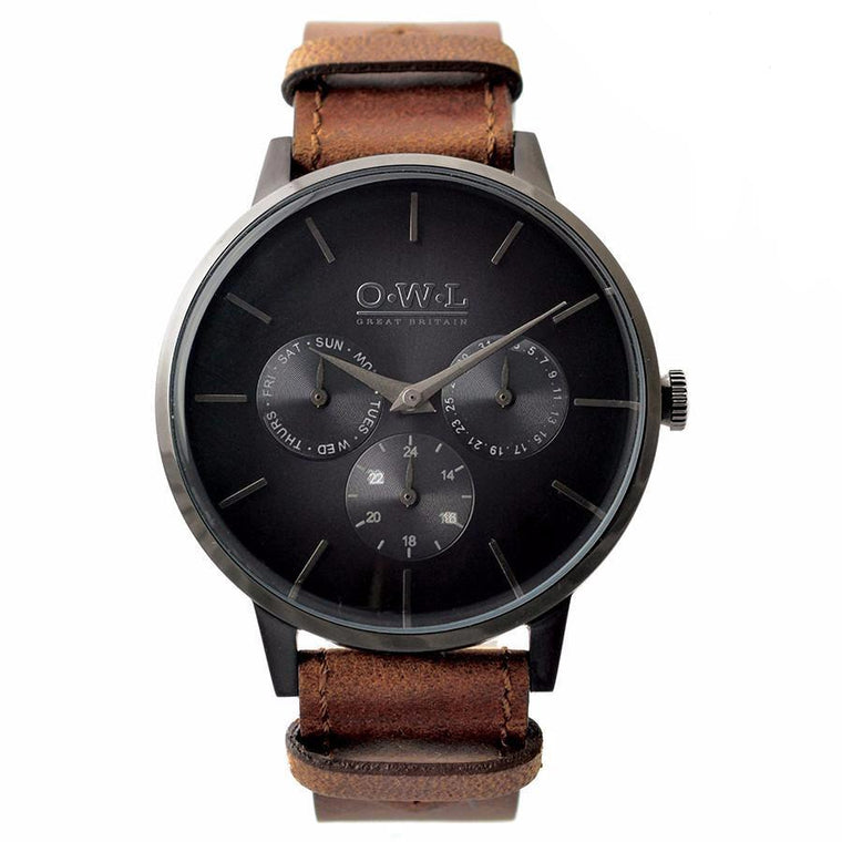 PEMBREY GENTLEMAN'S BLACK & BROWN STRAP WATCH