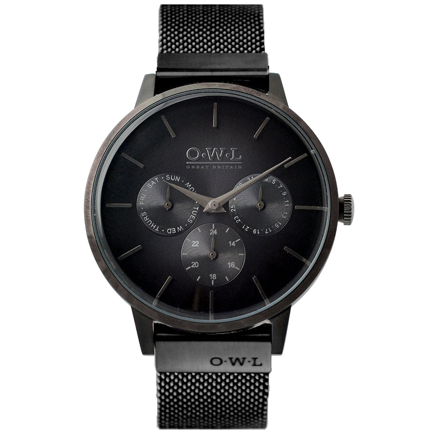 PEMBREY GENTLEMAN'S All BLACK CASE & MESH STRAP WATCH LTD - EDITION - OWL watches