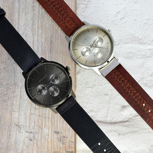 PEMBREY GENTLEMAN'S BLACK LEATHER STRAP WATCH - OWL watches