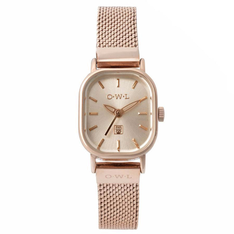 vintage style rose gold mesh on a square watch case