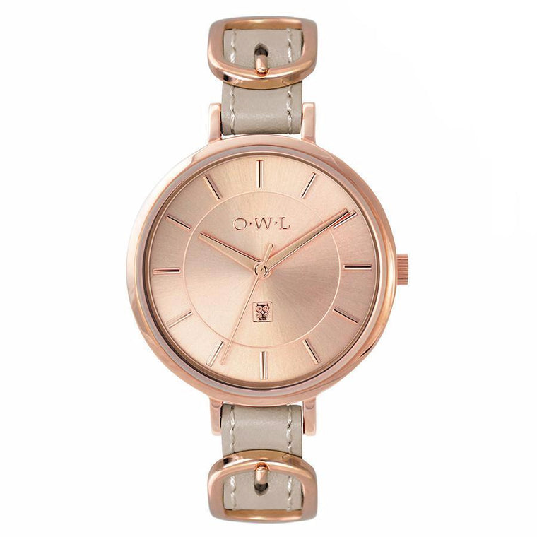Ladies designer buckle watch in rose gold and mink