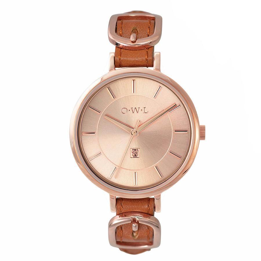 Ladies designer buckle watch in rose gold and tan