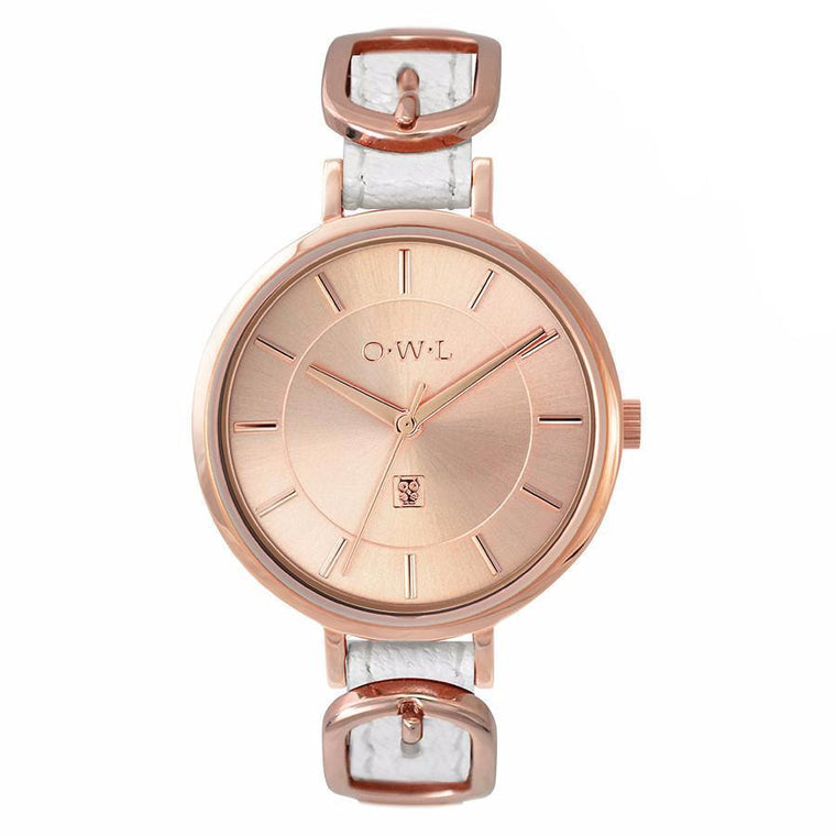 MAYFAIR BUCKLE WATCH IN ROSE GOLD AND WHITE