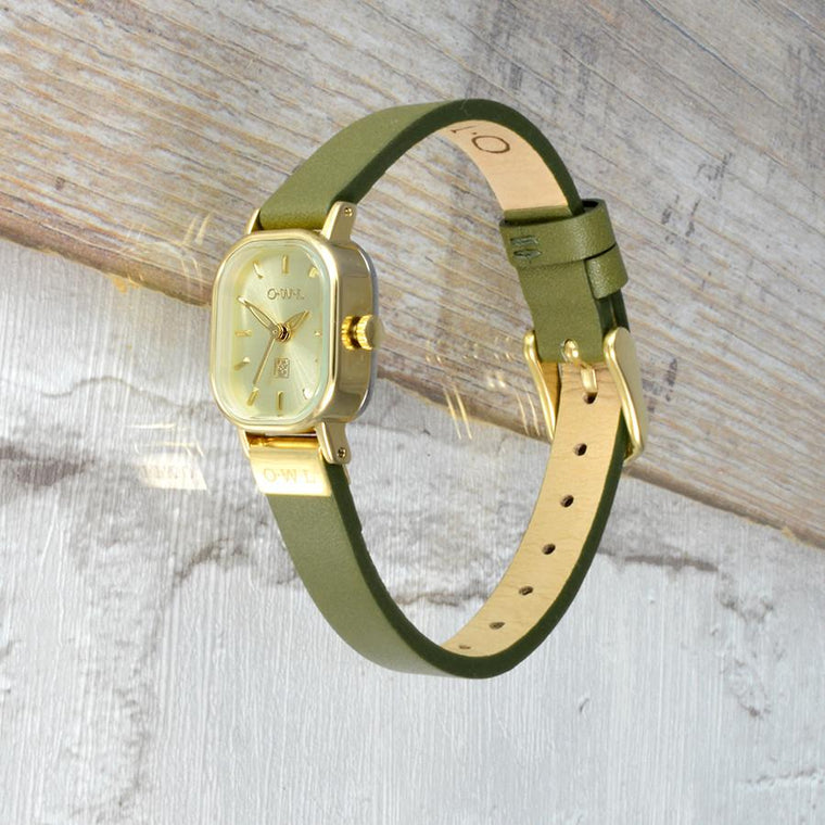 STRATFORD OLIVE AND GOLD LEATHER STRAP WATCH