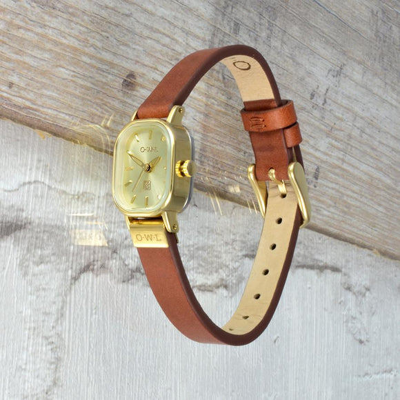 STRATFORD TAN AND GOLD PETITE VINTAGE INSPIRED LADIES WATCH