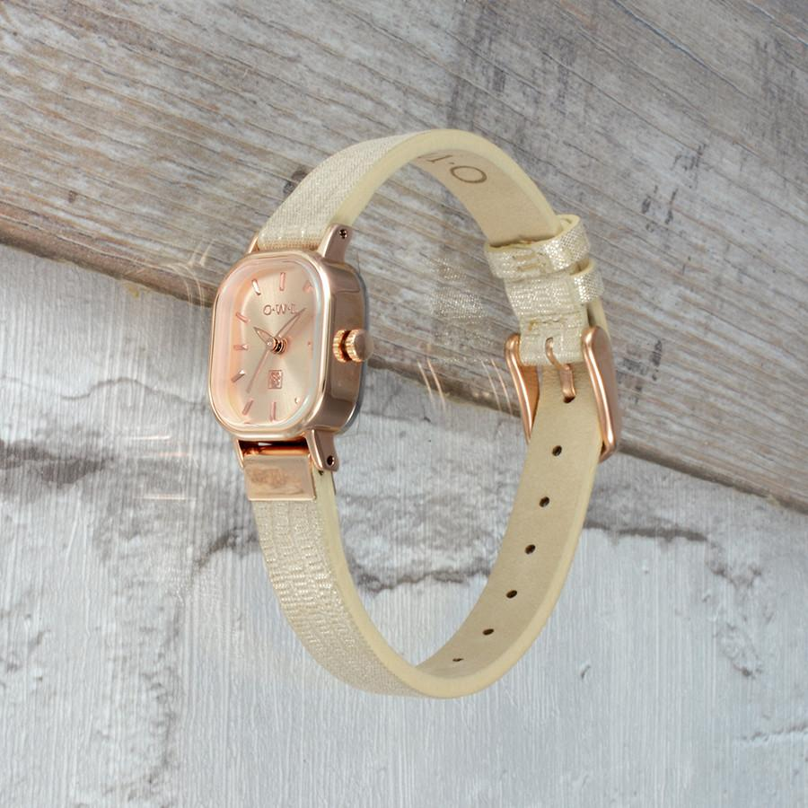 STRATFORD METALLIC NUDE AND ROSE GOLD WATCH
