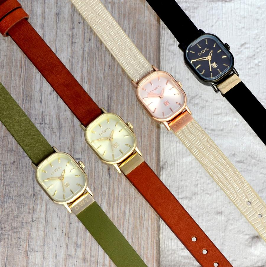STRATFORD PETITE VINTAGE INSPIRED LEATHER STRAP WATCH