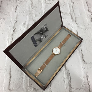 SUTTON ROSE GOLD CASE WITH BLUE DIAL & MESH STRAP - OWL watches