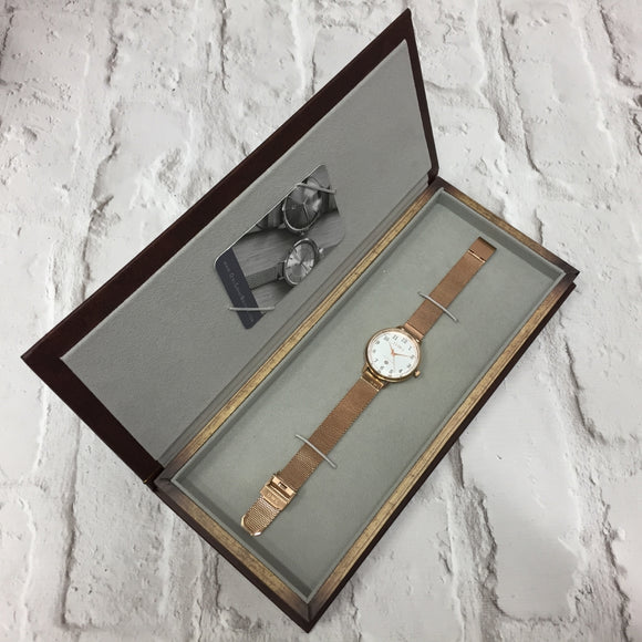 SUTTON ROSE GOLD CASE WITH WARM GREY DIAL & MESH STRAP - OWL watches