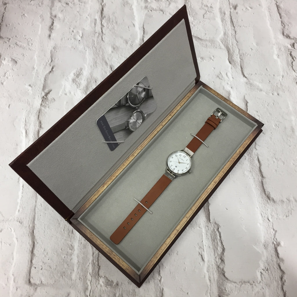 SUTTON STEEL CASE WITH SHELL WHITE DIAL & TAN LEATHER STRAP