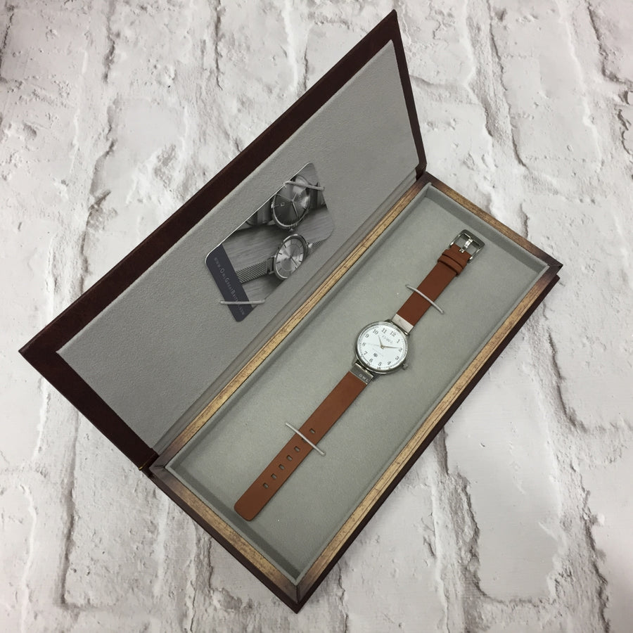 SUTTON STEEL CASE WITH WARM GREY DIAL & LEATHER STRAP - OWL watches