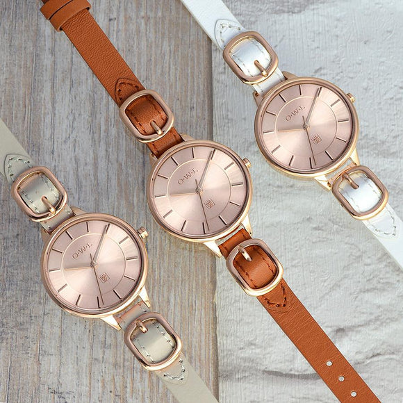 Ladies designer buckle watch in rose gold and white
