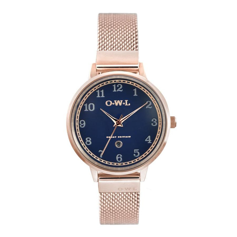 Ladies Rose Gold watch with blue dial date window and Rose Gold plated mesh strap