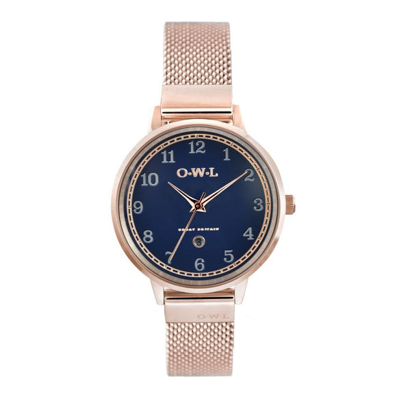 SUTTON ROSE GOLD CASE WITH BLUE DIAL & MESH STRAP