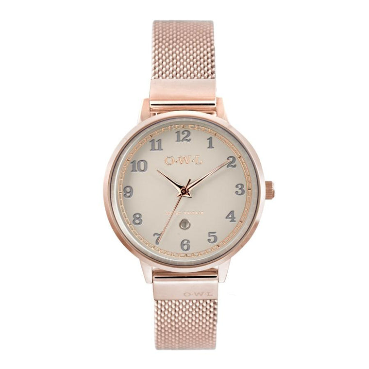 Ladies Rose Gold watch with mink dial date window and rose gold plated mesh strap