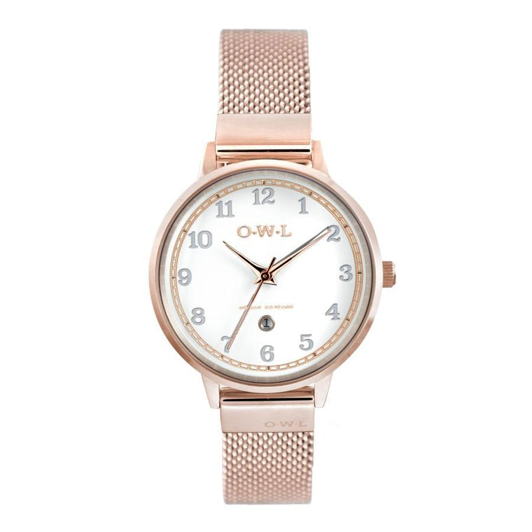 SUTTON ROSE GOLD CASE WITH SHELL WHITE DIAL & MESH STRAP