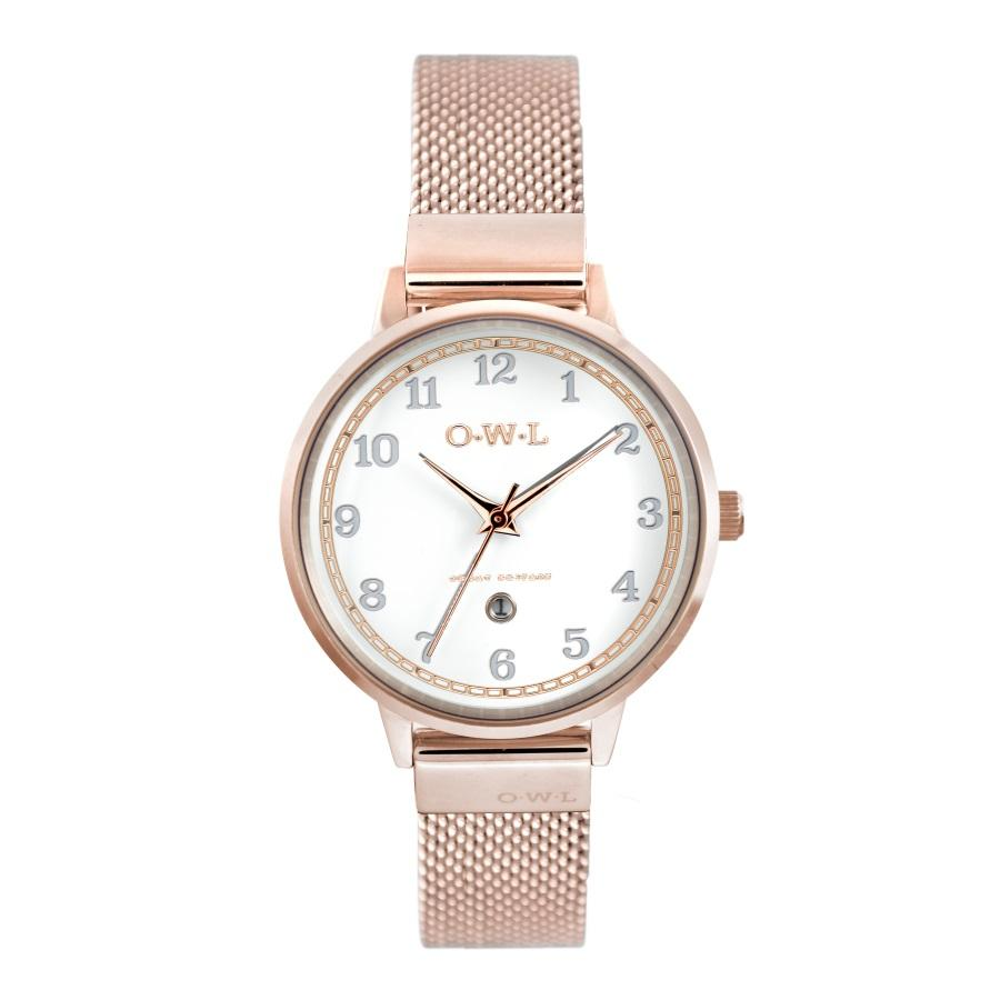 Ladies Rose Gold Watch with White dial date window and rose gold plated mesh strap