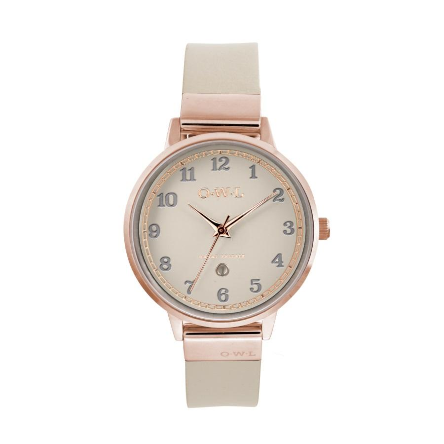 LAdies Rose Gold watch with mink dial date window and mink leather strap