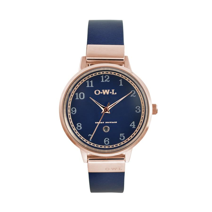 Ladies Rose Gold watch with blue dial date window and blue leather strap