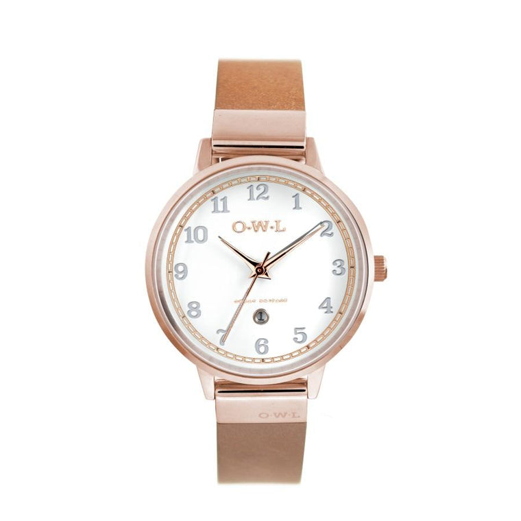 SUTTON ROSE GOLD CASE WITH SHELL WHITE DIAL & TAN LEATHER STRAP