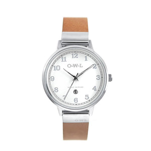 SUTTON STEEL CASE WITH SHELL WHITE DIAL & TAN LEATHER STRAP - OWL watches