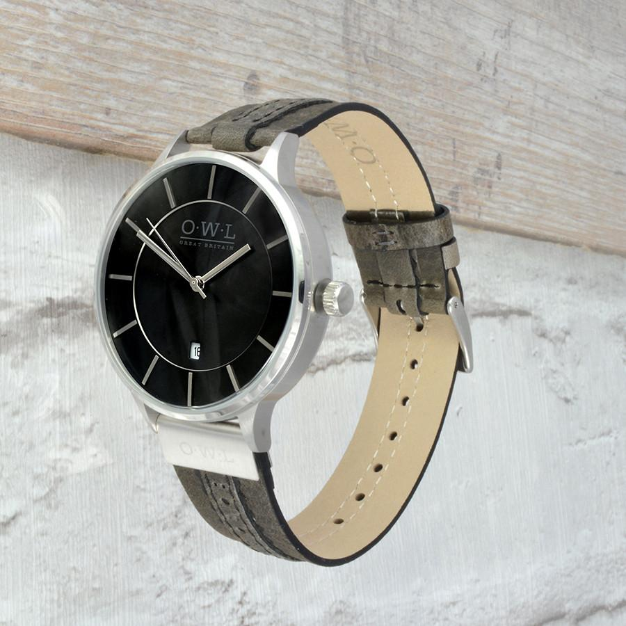 WARWICK SILVER AND GREY BROGUE LEATHER STRAP WATCH