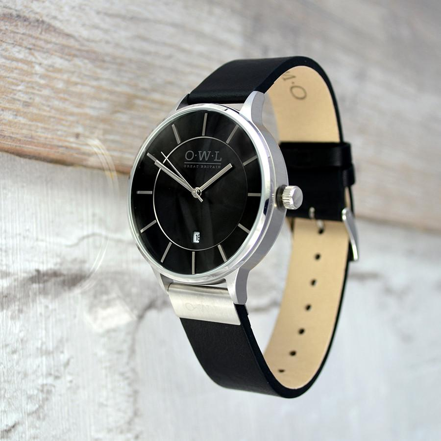 WARWICK SILVER AND BLACK LEATHER STRAP WATCH