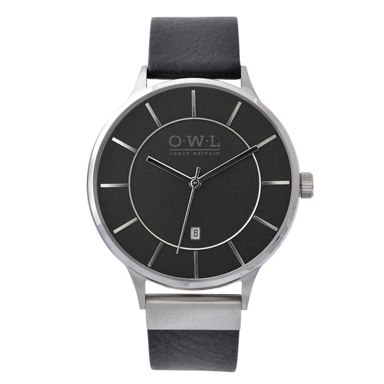 WARWICK SILVER AND BLACK VINTAGE INSPIRED LEATHER STRAP WATCH