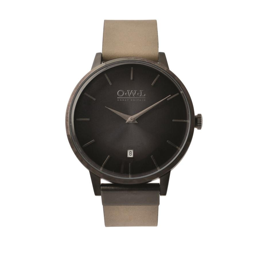 WALLOP VINTAGE INSPIRED STONE LEATHER STRAP WATCH