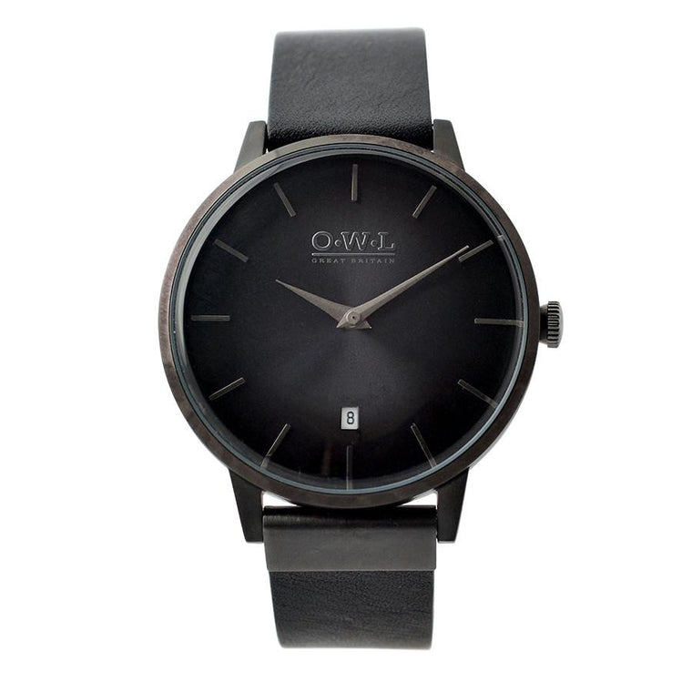 WALLOP GENTLEMAN'S BLACK LEATHER STRAP WATCH