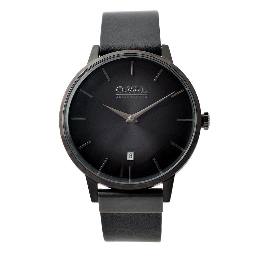 WALLOP GENTLEMAN'S BLACK LEATHER STRAP WATCH - OWL watches