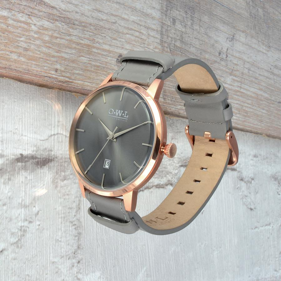 WALLOP GREY AND ROSE GOLD WATCH