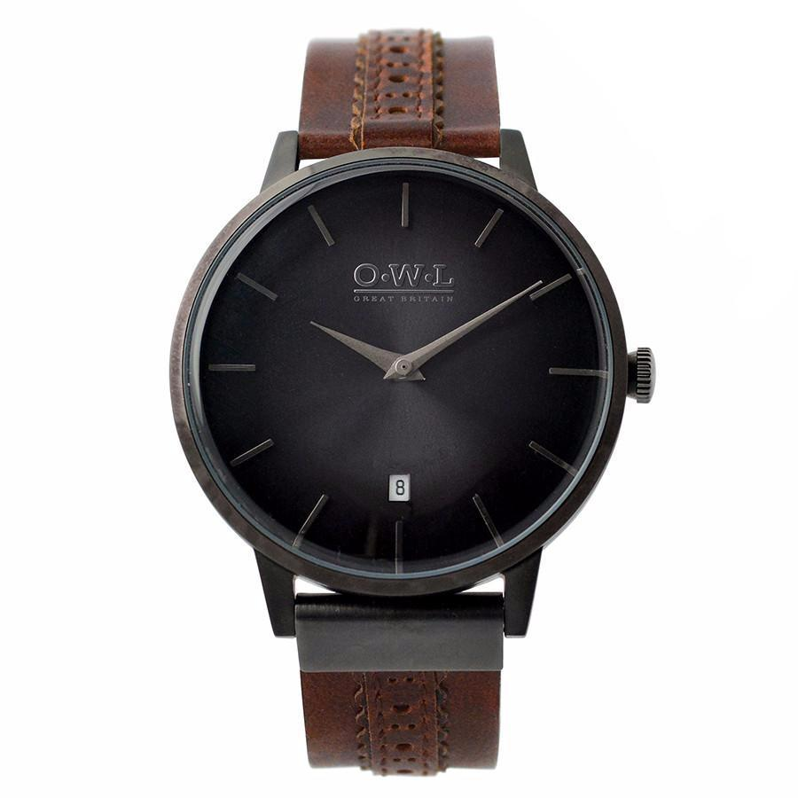 WALLOP GENTLEMAN'S BROWN BROGUE LEATHER STRAP WATCH