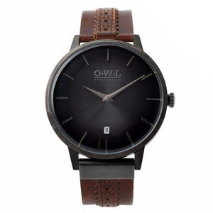 WALLOP GENTLEMAN'S BROWN BROGUE LEATHER STRAP WATCH - OWL watches