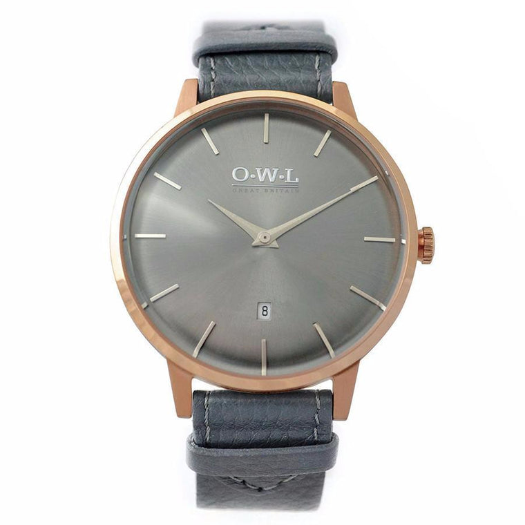 WALLOP GENTLEMAN'S ROSE GOLD & DARK GREY LEATHER STRAP WATCH