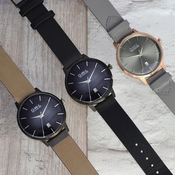 mens rose gold designer watch with grey leather strap