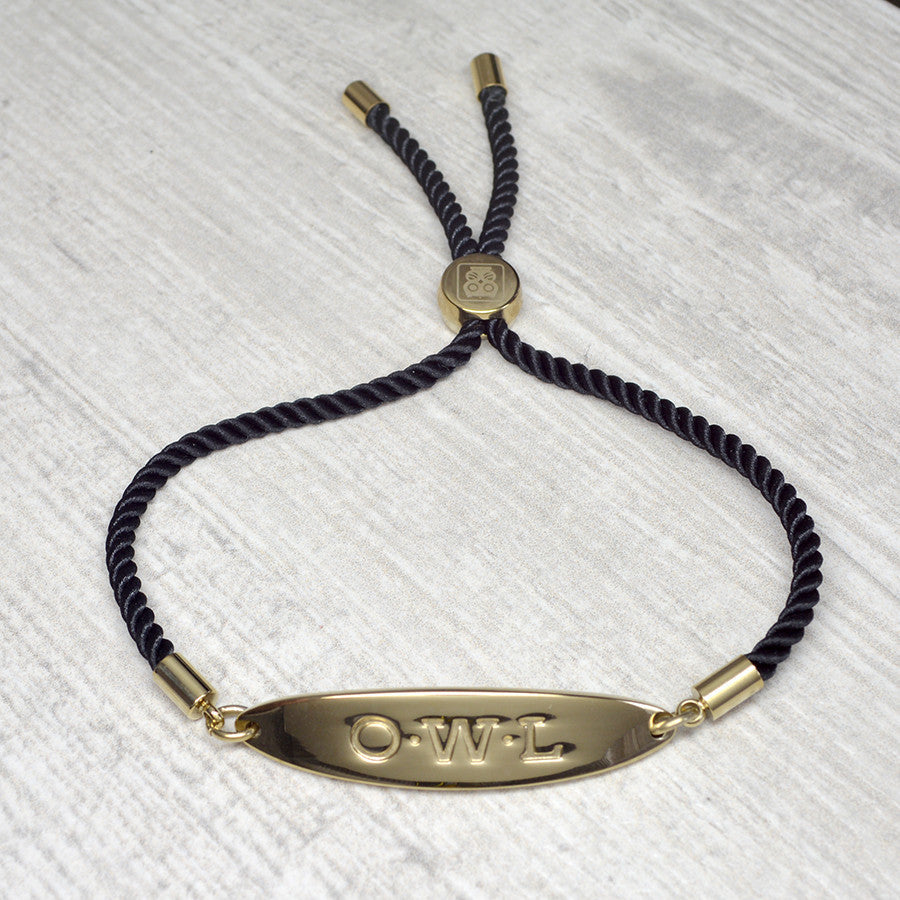 GLASTONBURY FRIENDSHIP BRACELET BLACK AND GOLD