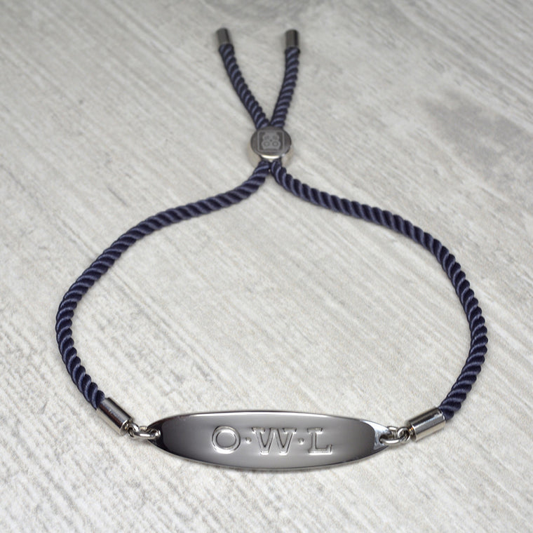 GLASTONBURY FRIENDSHIP BRACELET SILVER AND NAVY