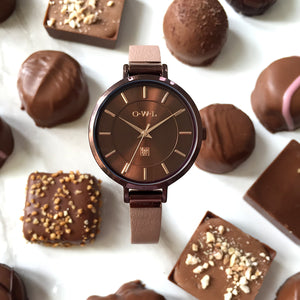 MAYFAIR WARM CHOCOLATE AND NUDE WATCH - OWL watches