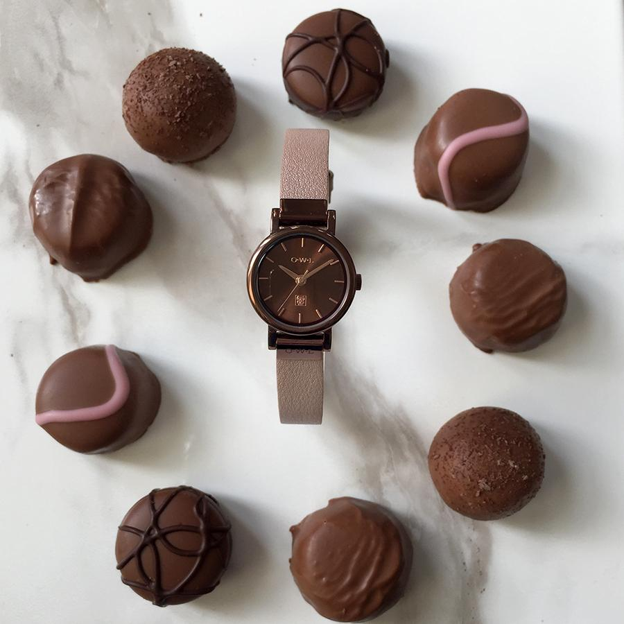 Chocolate brown and nude ladies small watch