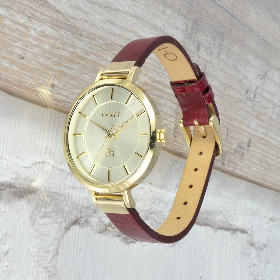 MAYFAIR GOLD AND OXBLOOD WATCH - OWL watches