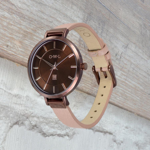 Chocolate brown ladies watch with nude leather strap