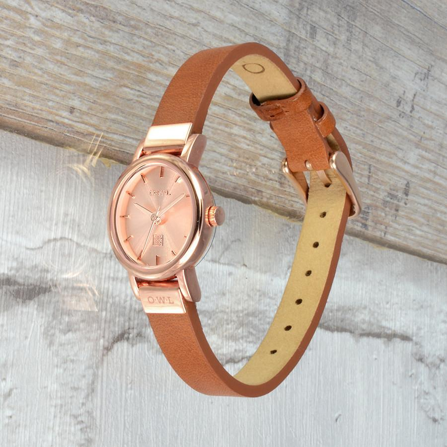 ASCOT ROSE GOLD AND TAN LEATHER WATCH