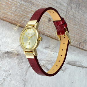 ASCOT GOLD AND OXBLOOD RED LEATHER LADIES WATCH - OWL watches