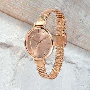 LEDBURY ROSE GOLD MESH WATCH - OWL watches
