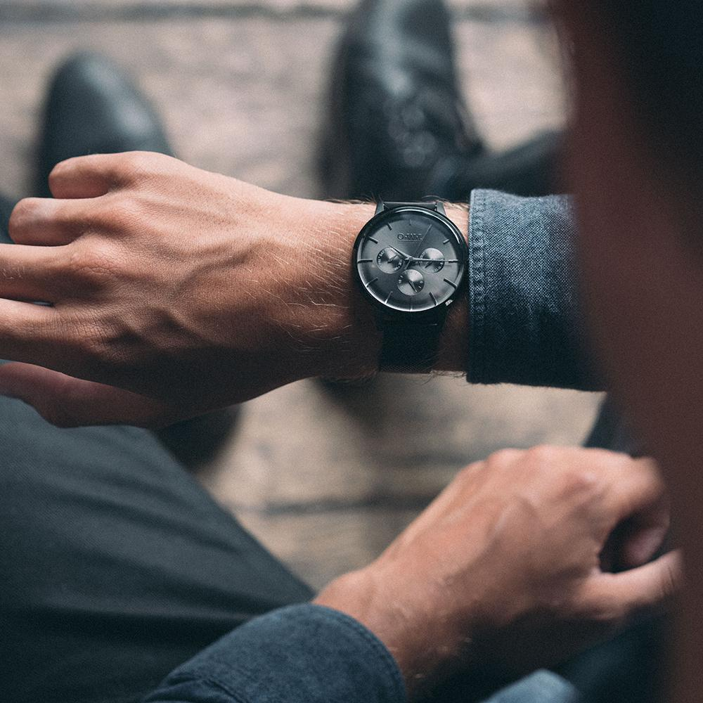 PEMBREY GENTLEMAN'S All BLACK LEATHER STRAP WATCH - OWL watches