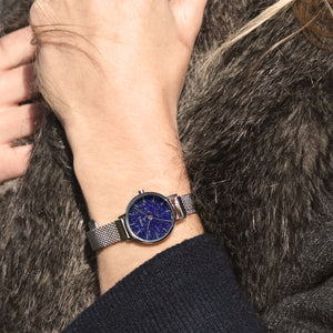 Amesbury Silver mesh watch with a genuine Lapis Lazuli Dial - OWL watches