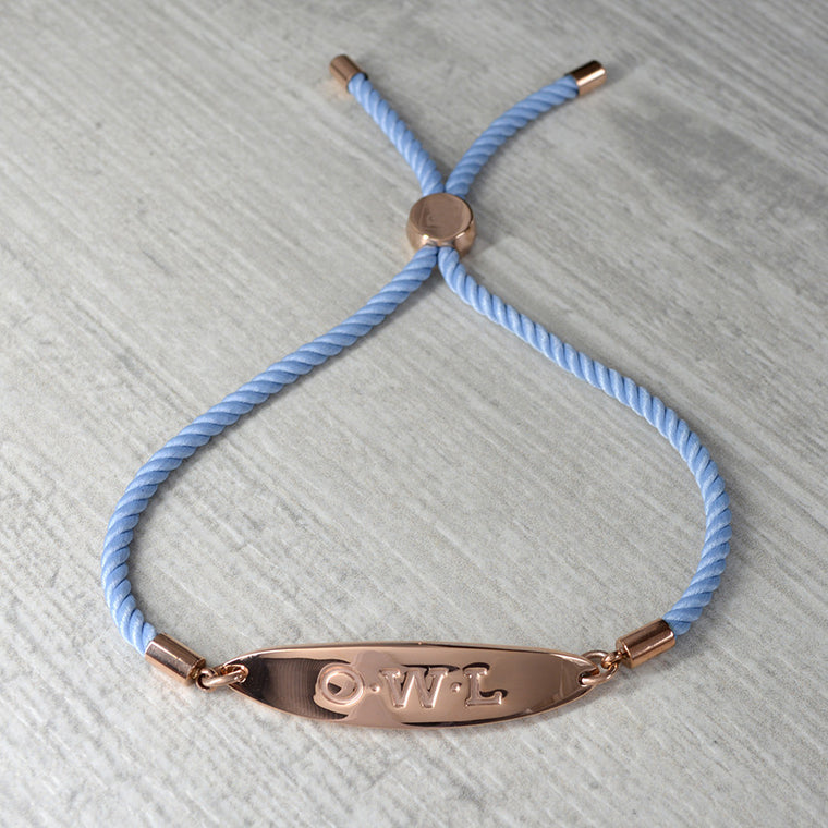 GLASTONBURY FRIENDSHIP BRACELET BLUE AND ROSE GOLD