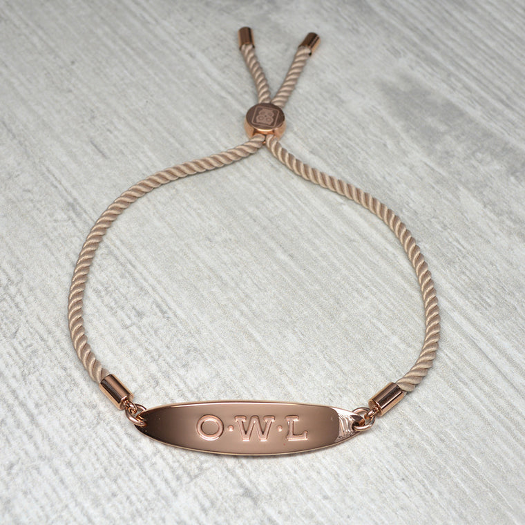 GLASTONBURY FRIENDSHIP BRACELET MINK AND ROSE GOLD