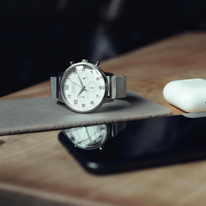 KINGSBRIDGE STEEL CASE, WHITE DIAL & STEEL MESH STRAP WATCH - OWL watches